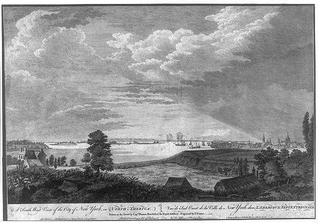 A south west view of the city of New York, in North America Vue de sud ouest de la ville de New York, dans l'Amerique Septentrionale / / drawn on the spot by Capt. Thomas Howdell, of the Royal Artillery ; engraved by P. Canot.