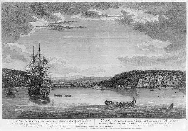 A view of Cape Rouge or Carouge, nine miles above the City of Quebec on the north shore of the river St. Laurence - from this place 1500 chosen troops at the break of day fell down the river on the ebb of tide to the place of landing 13 Sept. 1759 Vue de Cap Rouge vulgairement Carouge, a 9 miles au dessus de la ville de Québec - sur le bord septentrional de la riviere de St. Laurent - c'est de Carouge que 1500 himmes de troupes choisies descendirent avec la marée au lieu de debarquement 13 Sept. 1759 / / drawn on the spot by Capt. Hervey Smyth ; engraved by Peter Mazell.