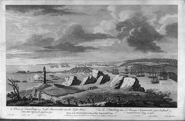 A view of Louisburg in North America, taken near the light house when that city was besieged in 1758 Vue de Louisburg, dans l'Amerique Septentrionale, prise du fanal durant le dernier siege en 1758 / / drawn on the spot by Capt. Ince of the 35th Regt. ; engraved by P. Canot.