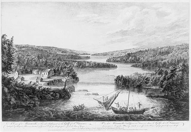 A view of Miramichi, a French settlement in the Gulf of St. Laurence, destroyed by Brigadier Murray detached by General Wolfe for that purpose, from the Bay of Gaspe Vue de Miramichi establissement Francois dans le Golfe de St. Laurent, détruit par le Brigadier Murray, détaché a cet effet de la Baye de Gaspé, par le Général Wolfe / / drawn on the spot by Capt. Hervey Smyth ; etch'd by Paul Sandby ; retouched by P. Benazech.