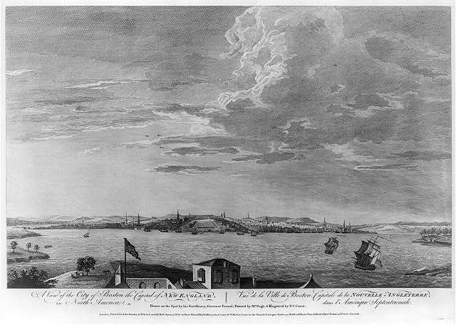 A view of the City of Boston the capital of New England, in North America Vue de la ville de Boston, capitale de la Nouvelle Angleterre, dans l'Amérique Septentrionale / / drawn on the spot by his excellency, Governor Pownal ; painted by Mr. Pugh ; & engraved by P.C. Canot.
