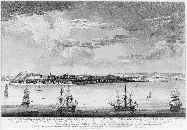 A view of the City of Quebec, the capital of Canada, taken partly from Pointe des Peres, and partly on board the vanguard man of war, by Captain Hervey Smyth Vue de la ville de Québec, capitale du Canada, prise en partie de la Ponte des Peres, et en partie àbord de l'avantgarde vaisseau de guerre, par le Cape. Hervey Smyth / / P. Benazech sculp.