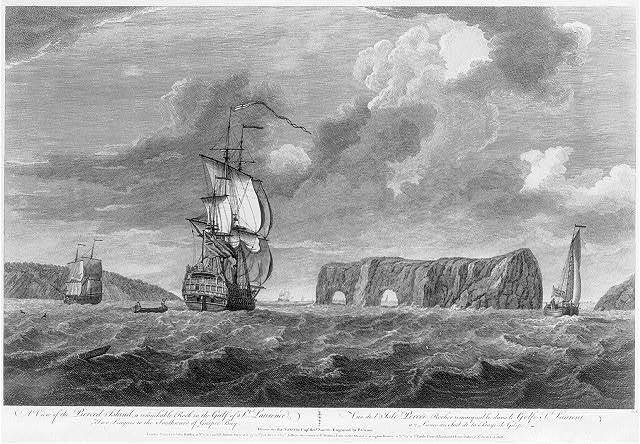 A view of the of the Pierced Island, a remarkable rock in the Gulf of St. Laurence - two leagues to the southward of Gaspée Bay Vuë de l'Isle Percée, rocher remarquable dans le Golfe St. Laurent a 2 lieues au sud de la Baye de Gaspe / / drawn on the spot by Capt. Hery. Smyth ; engraved by P. Canot.