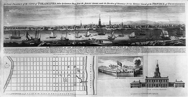 An east prospect of the city of Philadelphia; taken by George Heap from the Jersey shore, under the direction of Nicholas Scull surveyor general of the Province of Pennsylvania / engrav'd by T. Jefferys.