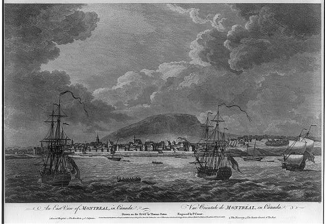 An east view of Montreal, in Canada Vue orientale de Montréal, en Canada / / drawn on the spot by Thomas Patten ; engraved by P. Canot.