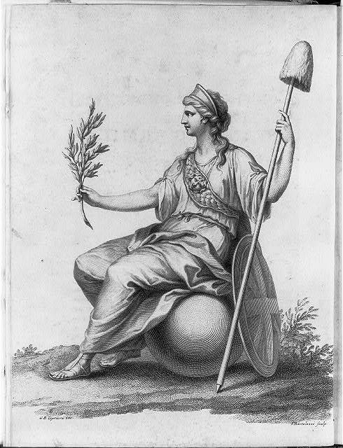 [Britannia, full-length portrait, left profile, seated, holding olive branch in right hand and staff topped with liberty cap in left hand] / G.B. Cipriani inv. ; F. Bartolozzi sculp.