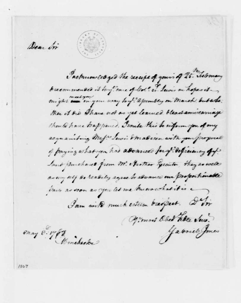 George Washington Papers, Series 4, General Correspondence: Gabriel Jones to George Washington, May 3, 1768