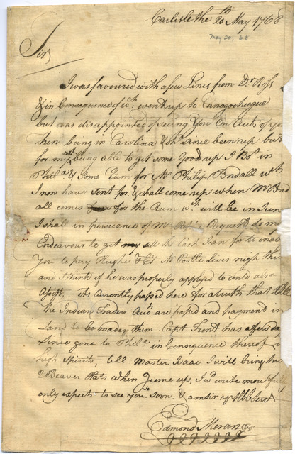 Letter from Edmund Moran to Evan Shelby