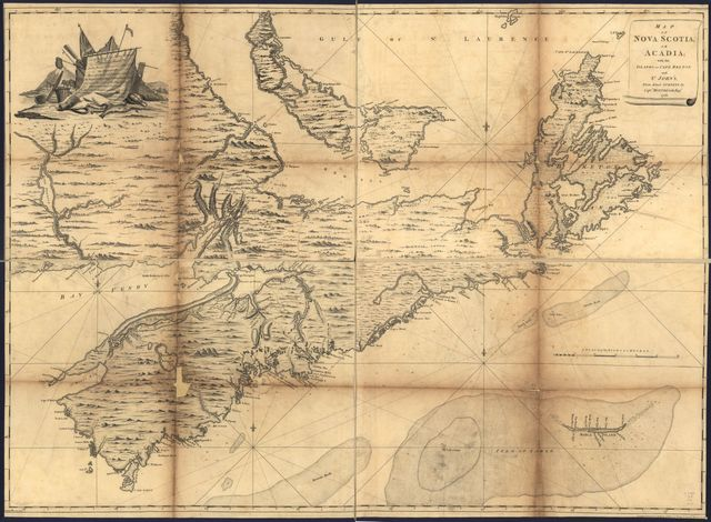 Map of Nova Scotia, or Acadia; with the islands of Cape Breton and St. John's, from actual surveys,