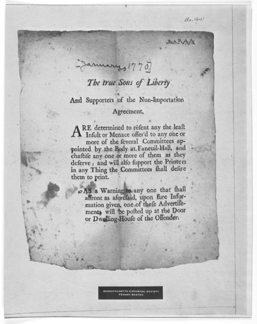 New York November 5 1773 To The Friends Of Liberty And Commerce