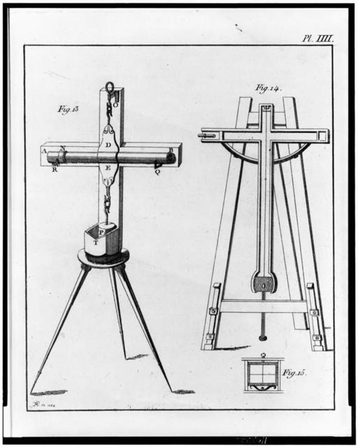[Two designs for levels, on the right (fig. 14) by Jean Picard and on the left (fig. 13) by Christiaan Huygens] / JM [or TM] sc 1768.