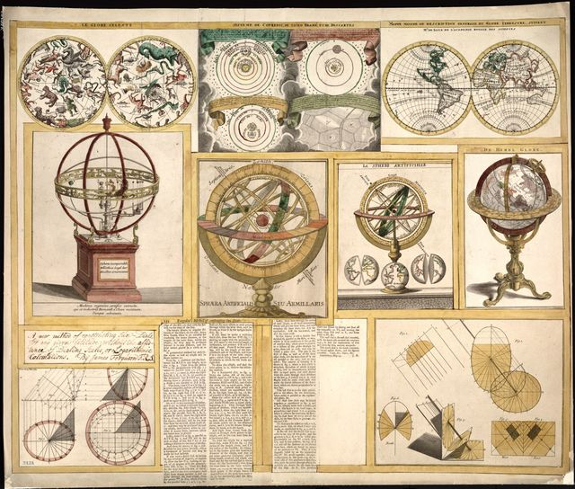 [Collection of nine images including astronomical instruments, celestial charts, and a world map].