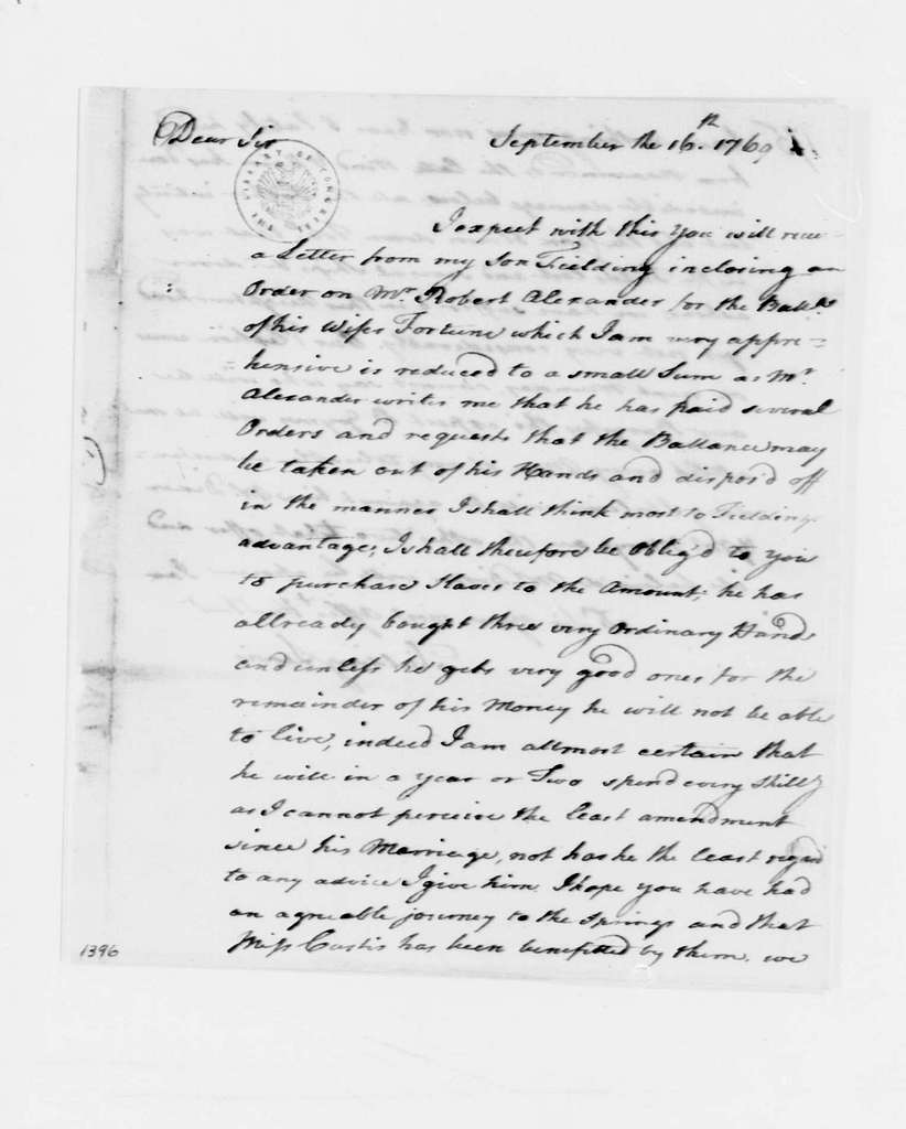 George Washington Papers, Series 4, General Correspondence: Fielding Lewis to George Washington, September 16, 1769