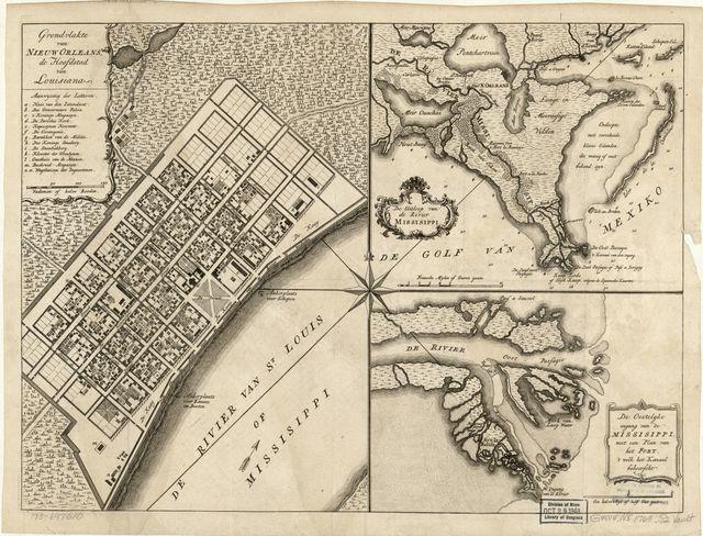 Grondvlakte van Nieuw Orleans, de hoofdstad van Louisiana. De uitloop van de Rivier Missisippi. De oostelyke ingang van de Missisippi, met een plan van het fort, 't welk het kanaal beheerscht.