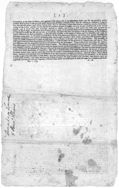 I saw, the other day in the Pennsylvania Chronicle, a short state of the Connecticut people's claim to the lands at Wyoming, on the Susquehanna, and as there are many very material facts and circumstances, relating to the title of those lands, w