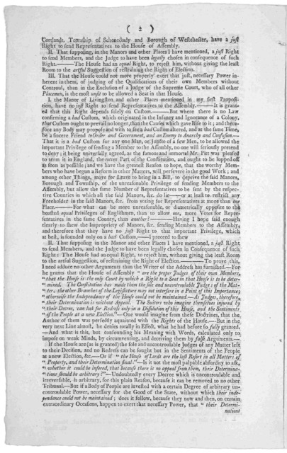 Observations on Mr. Justice Livingston's address to the House of Assembly, in support of his right to a seat ... [Signed] A citizen. New York, Dec. 6,1769.]. [New York: Printed by John Holt, 1769.].