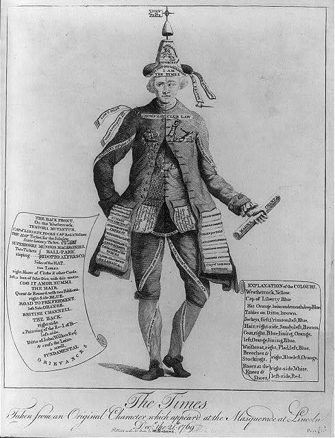 The times - taken from an original character which appear'd at the masquerade at Lincoln, Decr. the 21st 1769