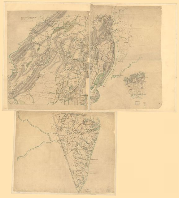 Three maps [i.e. map on 3 sheets] of northern New Jersey, with reference to the boundary between New York and New Jersey.
