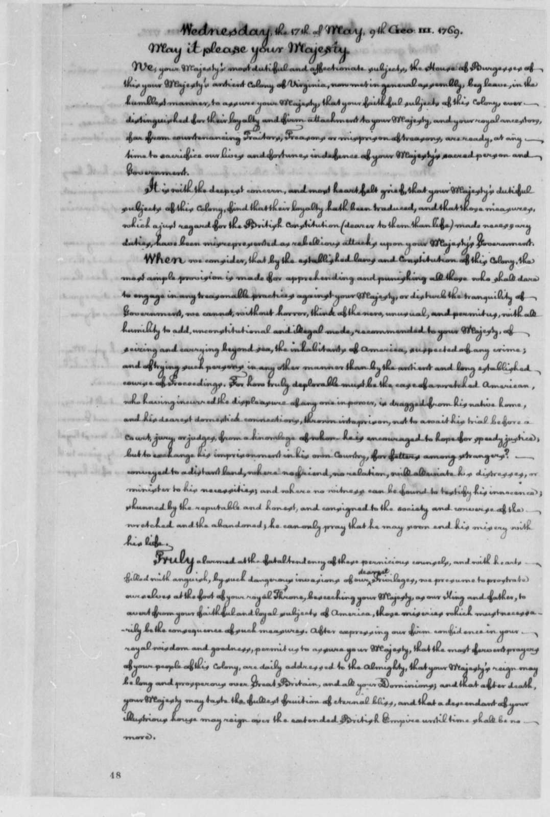 Virginia Colony to George III of England, May 17, 1769, Petition Against Deportation of Prisoners