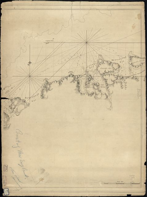 [A chart of New York Island & North River: East River, passage through Hell Gate, Flushing Bay, Hampstead Bay, Oyster, Huntington Bay, Cow Harbour, East Chester Inlet, Rochell, Rye, Patrick Islands, ec.