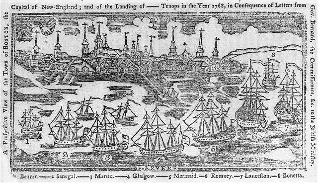 A prospective view of the town of Boston, the capital of New-England - and the landing of --- troops in the year 1768, in consequence of letters from Gov. Bernard, the commissioners, &c. to the British ministry / P. Revere.