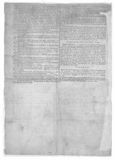 A wonderful dream. The following dream, &c. Publish'd near 20 years ago, is now re-printed by particular desire. [New York: Printed by John Holt, 1770].