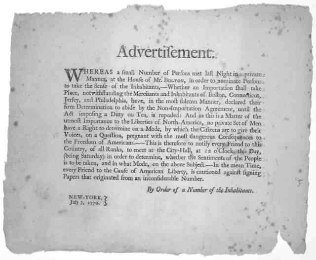Advertisement. Whereas a small number of persons met last night in a private manner, at the house of Mr. Bolton, in order to nominate persons to take the sense of the inhabitants, --- whether an importation shall take place, notwithstanding the