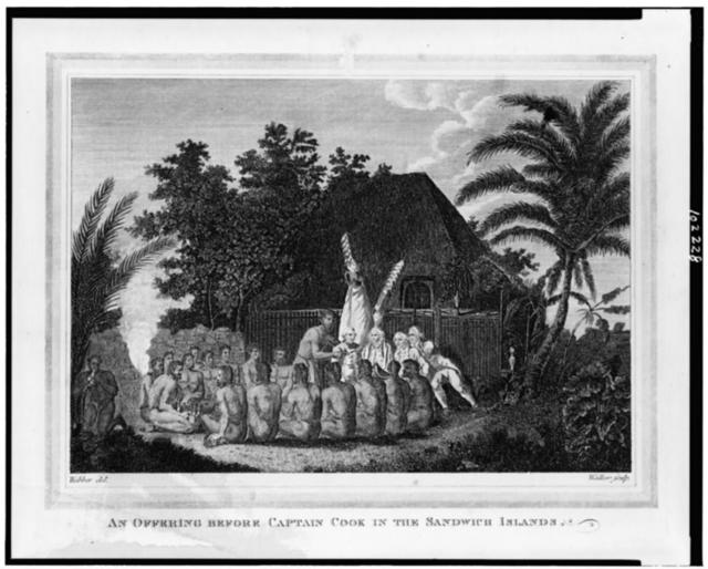 An Offering before Captain Cook in the Sandwich Islands / Webber del. ; Walker sculp.
