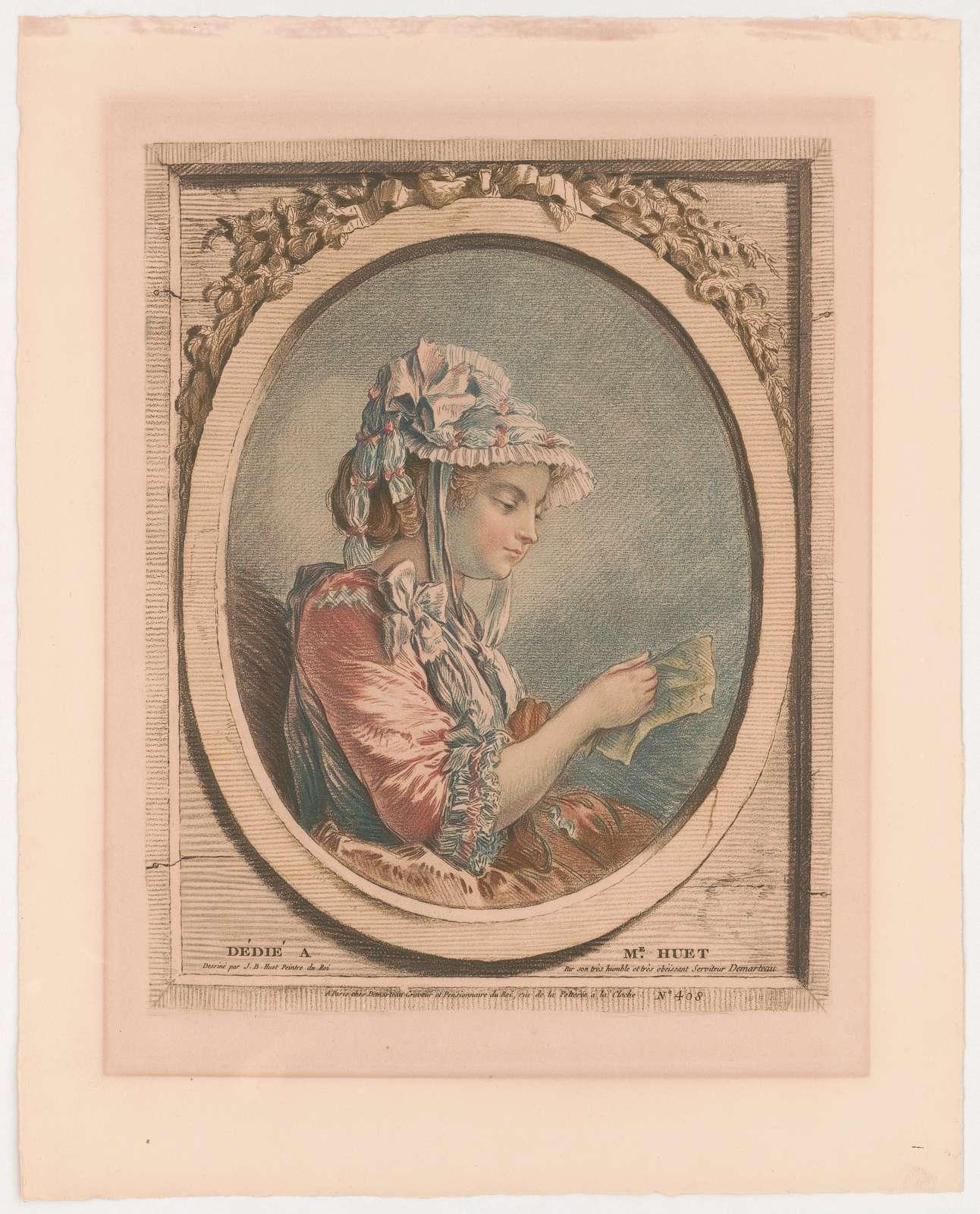 Girl reading a letter dessiné par J.B. Huet peintre du Roi par son très humble et très obéissant serviteur Demarteau