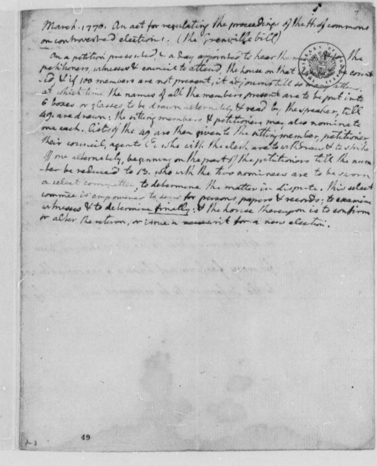 House of Commons, March 1770, Notes on Grenville Bill; Procedures for Settling Disputed Elections