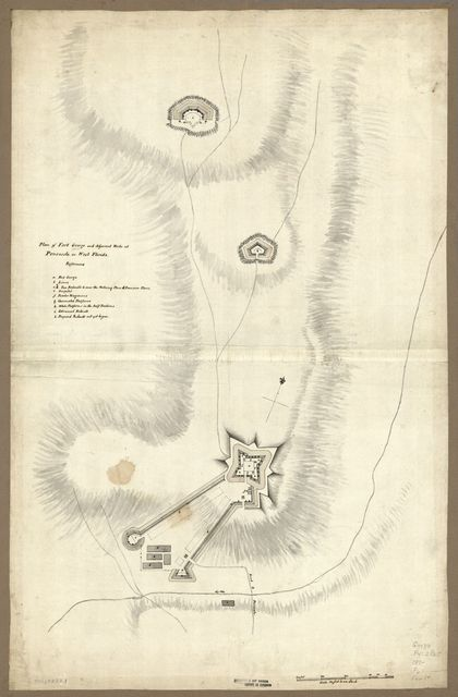Plan of Fort George and adjacent works at Pensacola in West Florida.