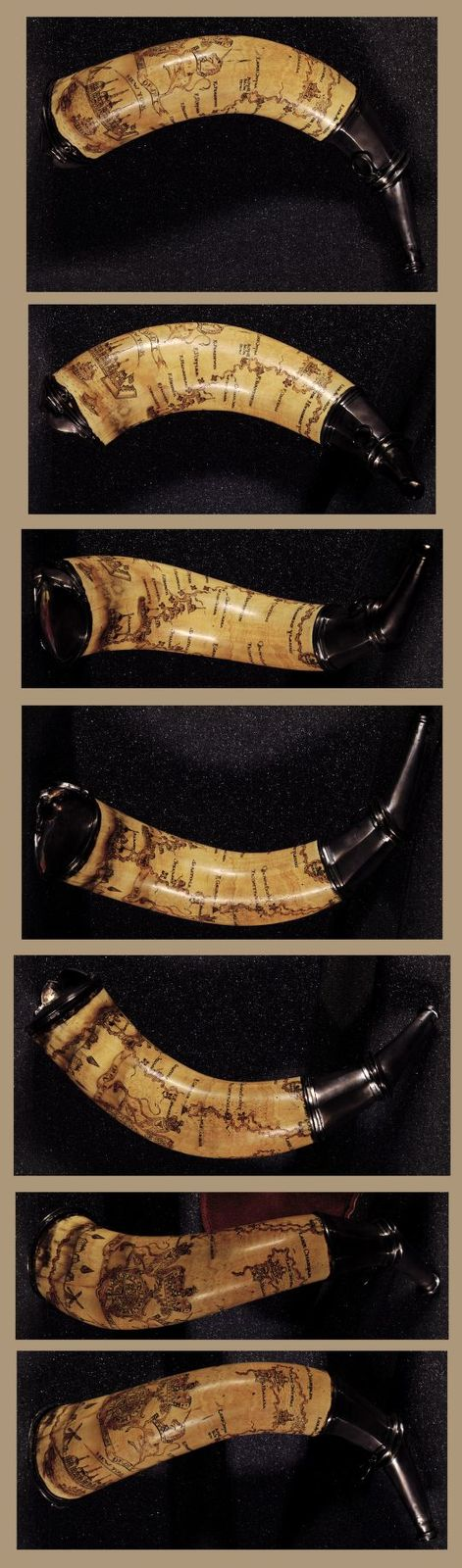 [Powder horn with hand-drawn map of the Hudson River (above Albany), Mohawk River, Niagara region, and Lake Ontario in New York Province].
