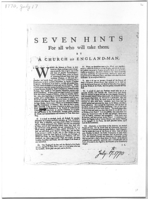 Seven hints for all who will take them by a Church of England-man. [Philadelphia, July 17, 1770].