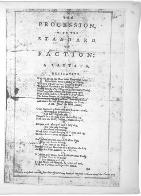 The procession, with the standard of faction: A rantata. [New York, 1770].