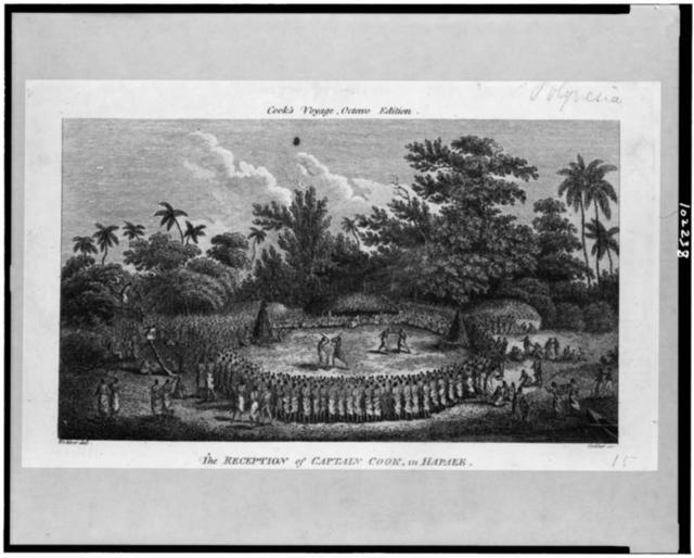 The Reception of Captain Cook, in Hapaee / Webber del. ; Goldar, sc.