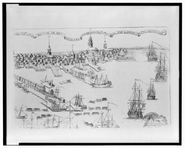 The town of Boston in New England and British ships of war landing their troops! 1768