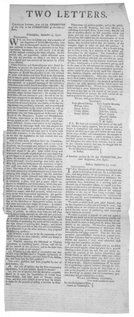 Two letters A circular letter, from the late Committee of this City in the Committees of the other colonies. Philadelphia, September 25, 1770. Gentlemen. We are sorry to inform you that a number of our importers of the British merchandize ... ar