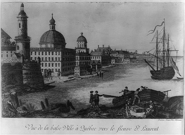Vue de la basse ville à Québec vers le fleuve St. Laurent / gravé par François Xav. Habermann.
