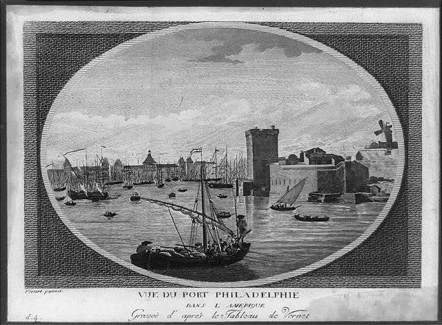 Vue du port Philadelphie - dans l'Amérique - graveé d'aprés le tableau de Vernet / Vernet pinxit.