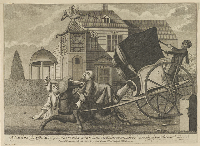 A common council man of Candlestick Ward, and his wife, on a visit to Mr. Deputy - at his modern built villa near Clapham