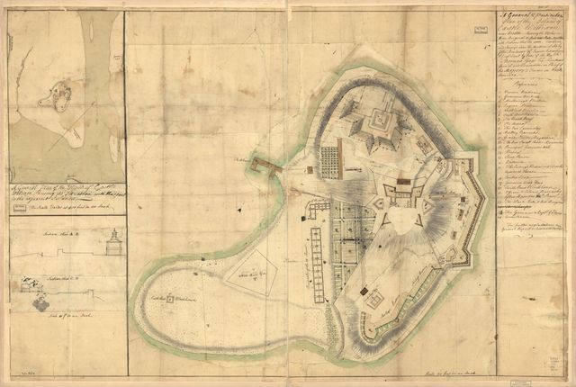 A general & particular plan of the island of Castle William near Boston, shewing the works in their original & present state, together with sections thro' the same. Carried on and survey'd under the direction of and by John Montrésor, Esqr., engineer extraordinary & Capt. Lieut. by order of the Honble: Thomas Gage, Esqr., Lieutenant General and Commander in Chief of His Majesty's forces in North America.