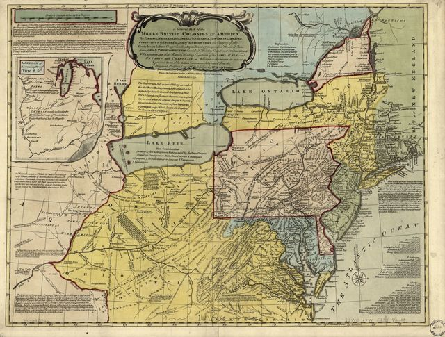 A general map of the middle British colonies in America, viz. Virginia, Maryland, Delaware, Pensilvania, New-Jersey, New York, Connecticut & Rhode-Island: of Aquanishuonigy the country of the confederate Indians comprehending Aquanishuonigy proper, their places of residence, Ohio & Thuchsochruntie their deer hunting countries, Couchsachrage & Skaniadarade their beaver hunting countries, of the Lakes Erie, Ontario and Champlain. Wherein is also shewn the antient & present seats of the Indian nations. Carefully copied from the original published at Philadelphia, by Mr. Lewis Evans.