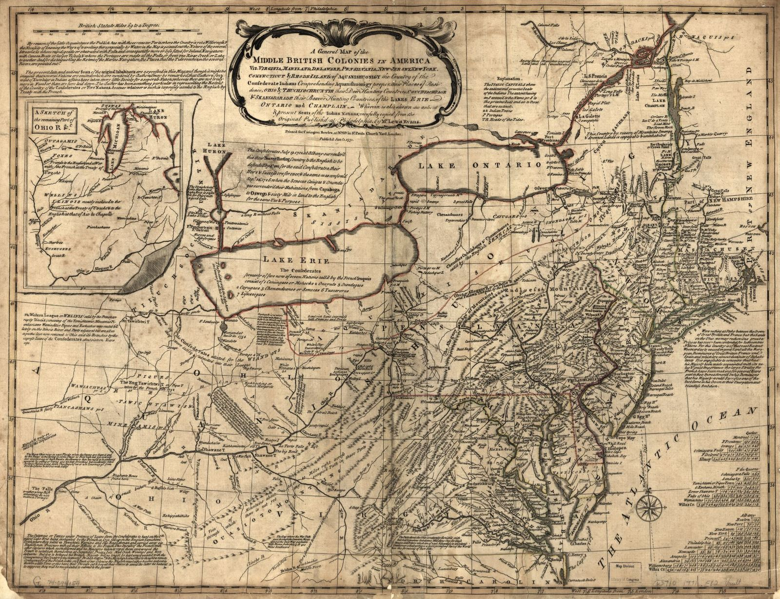 A general map of the middle British colonies in America, viz. Virginia, Maryland, Delaware, Pensilvania, New-Jersey, New York, Connecticut & Rhode Island: Of Aquanishuonigy the country of the confederate Indians comprehending Aquanishuonigy proper, their places of residence, Ohio & Thuchsochruntie their deer hunting countries, Couchsachrage & Skaniadarade their beaver hunting countries, of the Lakes Erie, Ontario and Champlain. Wherein is also shewn the antient & present seats of the Indian nations.