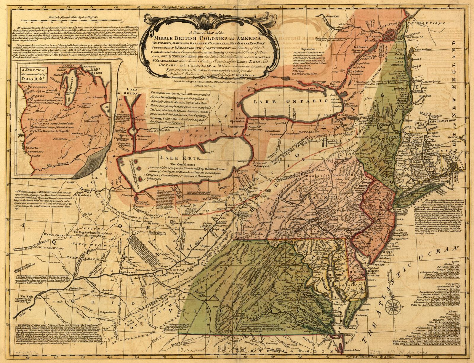 A General Map Of The Middle British Colonies In America Viz