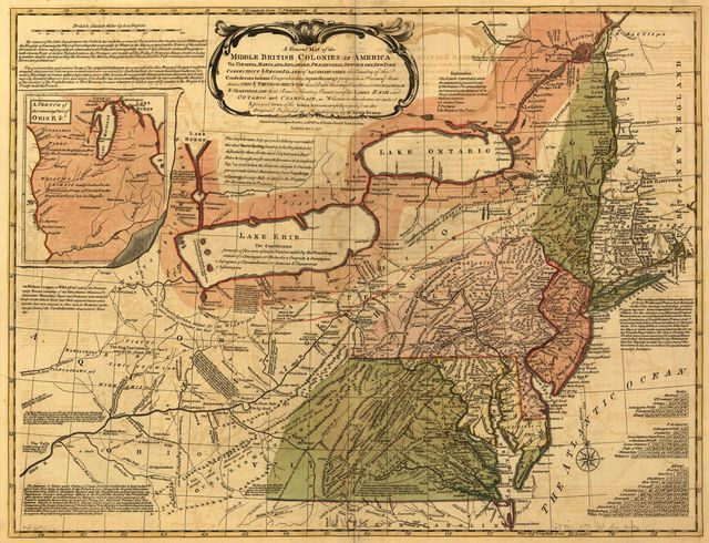 A general map of the middle British colonies in America, viz. Virginia, Maryland, Delaware, Pensilvania, New-Jersey, New York, Connecticut & Rhode-Island: Of Aquanishuonigy the country of the confederate Indians comprehending Aquanishuonigy proper, their places of residence, Ohio & Thuchsochruntie their deer hunting countries, Couchsachrage & Skaniadarade their beaver hunting countries, of the Lakes Erie, Ontario and Champlain. Wherein is also shewn the antient & present seats of the Indian nations.