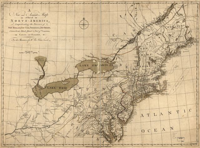 A new and accurate map of part of North-America, comprehending the provinces of New England, New York, Pensilvania, New Jersey, Connecticut, Rhode Island & part of Virginia, Canada and Hallifax, for the illustration of Mr. Peter Kalms travels.