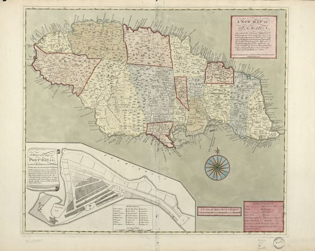 A new map of Jamaica; in which the several towns, forts, & settlements are accurately laid down, as well as the situations & depths of the most noted harbours and anchoring places ...