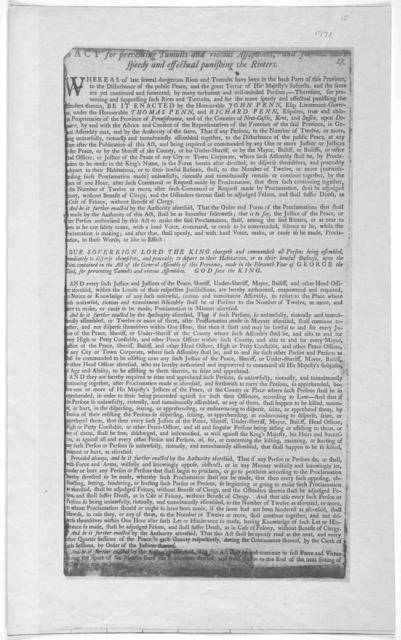 An act for preventing tumults and riotous assemblies, and for the more speedy and affectual punishing the rioters. [Philadelphia 1771].