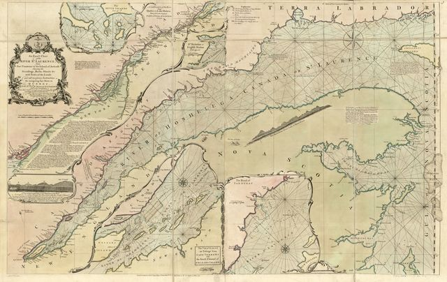 An exact chart of the river St. Laurence, from Fort Frontenac to the island of Anticosti shewing the soundings, rocks, shoals &c with views of the lands and all necessary instructions for navigating that river to Quebec.