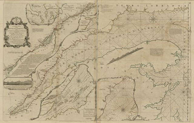 An exact chart of the river St. Lawrence, from Fort Frontenac to the island of Anticosti shewing the soundings, rocks, shoals &c with views of the lands and all necessary instructions for navigating that river to Quebec.